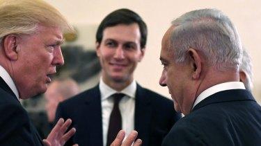 US President Donald J Trump and White House senior adviser Jared Kushner meet with Israel Prime Minister Benjamin Netanyahu  in Jerusalem, Israel.