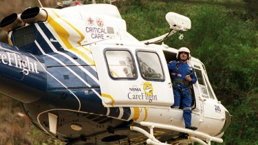 The CareFlight helicopter taking part in a rescue at Stanwell Tops in NSW.