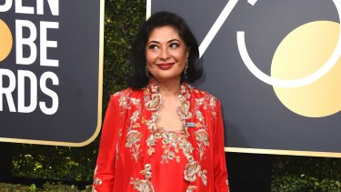 HFPA President Meher Tatna arrives at the 75th annual Golden Globe Awards at the Beverly Hilton Hotel on Sunday, Jan. 7, 2018, in Beverly Hills, California.