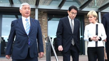 Japan's Minister of Defence Gen Nakatani (left) and Foreign Minister Fumio Kishida with Australia's Minister for Foreign Affairs Julie Bishop in November.