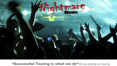 """""""Successful Touring is what we do"""": a screenshot of the Nightmare Music website."""