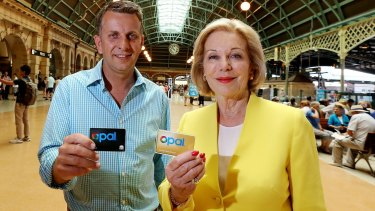 Contactless payment trial: NSW Minister for Transport and Infrastructure Andrew Constance with Ita Buttrose.