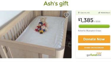 The crowdfunding campaign to raise money to cover the cost of Ash's cot.