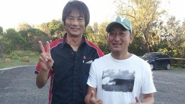 Tadashi Nakahara, left, who was killed by a shark on Monday morning.