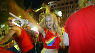 Sky News reporter and Daily Telegraph columnist Caroline Marcus at Sydney's Mardi Gras Parade in 2010.