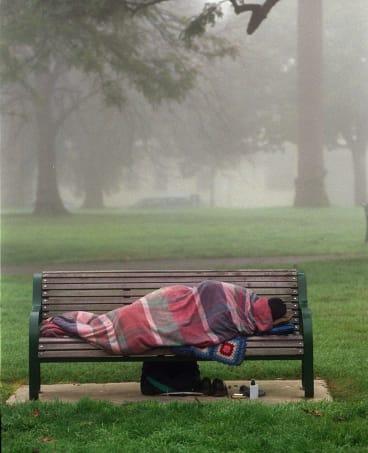 An Australian sleeping rough.
