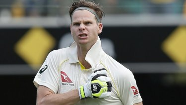 All heart: Steve Smith thumps his chest after scoring his epic hundred