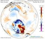 Unusual warmth over parts of Antarctica.