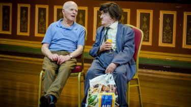 Good company: Mr Morrison and friend at the Fitzroy Town Hall in February.