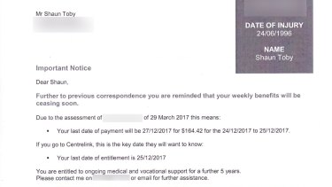The notice Shaun Toby received from his insurer.