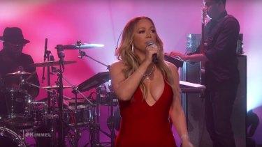 Mariah Carey performs on Jimmy Kimmel.