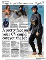 Nigella Lawson's outing to Bondi beach in a burkini threw the UK tabloids into a frenzy. Daily Mail's page 3, April 19 2011.