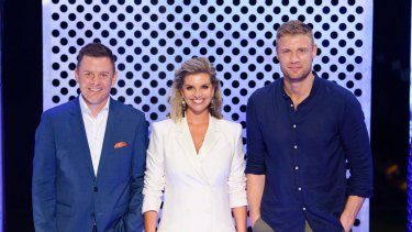 Australian Ninja Warrior presenters Ben Fordham, Rebecca Maddern and Freddie Flintoff.