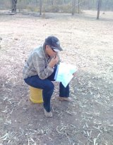 """Drought-stricken farmer Sally Witherspoon in her """"office""""."""