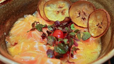 Ora king salmon with a sour orange dressing, Amazonian chillies and plantain chips.