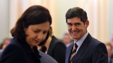 Premier Annastacia Palaszczuk and Queensland Speaker Peter Wellington.