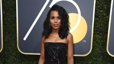 Kerry Washington arrives at the 75th annual Golden Globe Awards at the Beverly Hilton Hotel on Sunday, Jan. 7, 2018, in Beverly Hills, California.