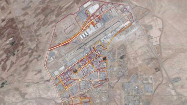 A portion of the Strava Labs heat map from Kandahar Airfield in Afghanistan, made by tracking activities.