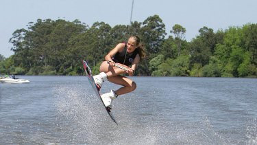 Aerial combat: Courtney Nevin, 13, wakeboarding on the Hawkesbury River.
