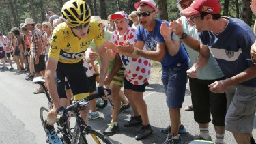 Outraged: Britain's Chris Froome claims a spectator threw urine in his face during the fourteenth stage of the Tour de France cycling race.