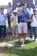 James Ricketson with a drone in a picture from the Fresh News website.