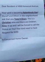 The note Julie Baker says she found under her door.