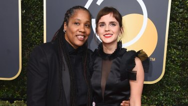 Marai Larasi, left, and Emma Watson arrive at the 75th annual Golden Globe Awards at the Beverly Hilton Hotel on Sunday, Jan. 7, 2018, in Beverly Hills, California.