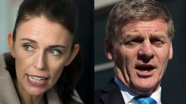 NZ Labour Party leader Jacinda Ardern, left, and Prime Minister Bill English must wait for NZ First Party to decide who will govern.