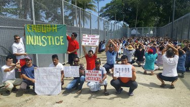 Refugees and asylum seekers during a protest at the Manus Island centre.
