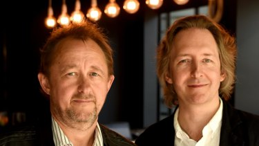 The new STC artistic director,  Jonathan Church (right), with the outgoing Andrew Upton.