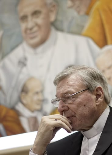 Cardinal George Pell had talks with the Pope at the Vatican on Monday.