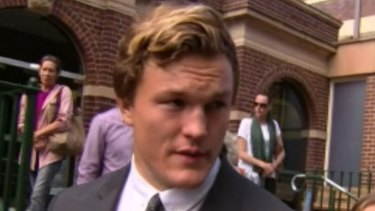 Lesson learnt: NRL player Liam Knight leaves court after pleading guilty to drink driving charges.