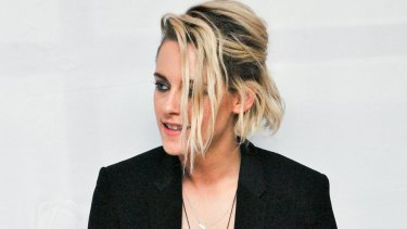 "Kristen Stewart at the Hollywood Foreign Press Association press conference for ""Cafe Society""."