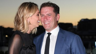 Karl Stefanovic and Jasmine Yarbrough at Harper's Bazaar Australia's 20th anniversary edition party on Tuesday night at Matt Moran's Smoke rooftop bar in Barangaroo.