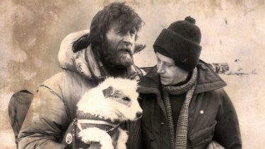 Sir Ranulph and Lady Virginia Fiennes with their dog, Bothie, at New Zealand's  Scott Base in 1981.