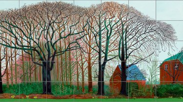 David Hockney, Bigger trees near Warter or ou Peinture sur le motif pour le Nouvel Age Post-Photographique (detail), 2007.Tate, London, presented by the artist 2008.