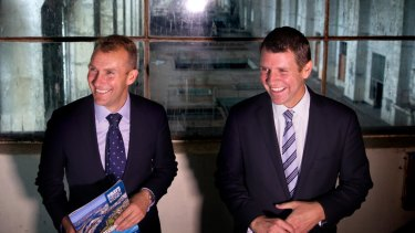 NSW Premier Mike Baird and Planning Minister Rob Stokes at White Bay Power Station in 2015 announcing it would be re-purposed as a technology hub.
