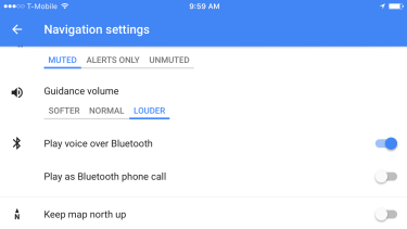 You wouldn't think that something like guidance volume would matter, but if you're driving around in a car with weird speakers, it's nice that Google gives you a lot of options.