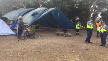 A City of Perth ranger asking if anyone was claiming responsibility for the camp site before it was removed.