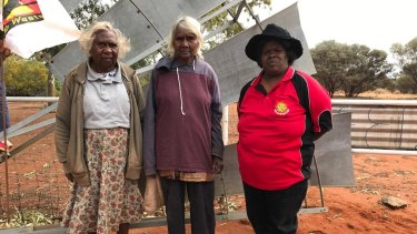 Shirley Wonyabong, Elizabeth Wonyabong, and Vicky Abdullah are protesting the development of uranium mines on their traditional lands.