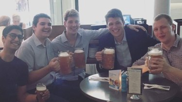 Happier times: Alex Hawke staffer Dimitry Palmer (second from left), NSW Young Liberals president Alex Dore (centre) and vice-president Dean Shachar (far right) earlier in the year.