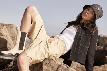 "Colovos jacket, $1099, from David Jones. Bassike long-sleeve tee, $240. Bottega Veneta leather shorts, $3740. Prada bucket hat, $595. Bottega Veneta ""Tire"" boots, $1590."
