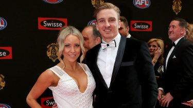 Dennis Armfield with his partner Abby Meates at the 2015 Brownlow Medal count.