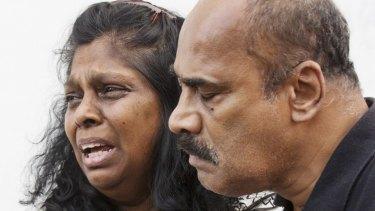 Anguish: Myuran Sakamaran's mother and father Raji and Sam Sukumaran.