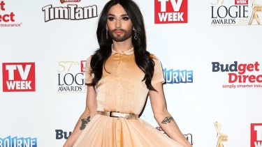 Conchita Wurst arrives at the 57th Annual Logie Awards.
