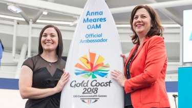 Anna Meares was awarded a surfboard to mark the occasion, representing the Gold Coast lifestyle.