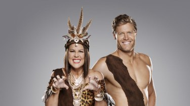 Hosts of <i>I'm a Celebrity ... Get Me Out of Here!</i>, Julia Morris and Dr Chris Brown, with a touch of jungle fever.