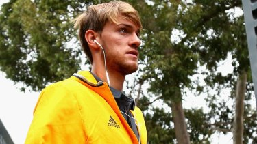 Juventus defender Daniele Rugani arrives at a welcome ceremony in Melbourne