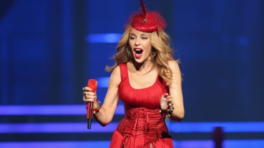 Festive spirit: Kylie Minogue, pictured on her Kiss Me Once Tour in Melbourne in March.