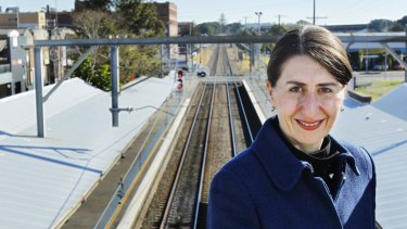 End of the line: Gladys Berejiklian, Minister for Transport, at Wickham train station.